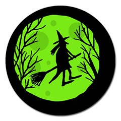 Halloween Witch   Green Moon Magnet 5  (round) by Valentinaart