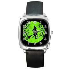 Halloween Witch   Green Moon Square Metal Watch by Valentinaart