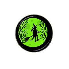 Halloween Witch   Green Moon Hat Clip Ball Marker by Valentinaart