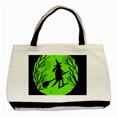 Halloween Witch   Green Moon Basic Tote Bag by Valentinaart