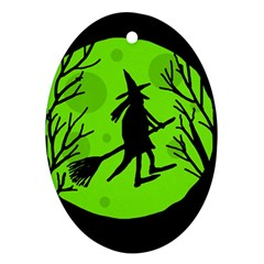 Halloween Witch   Green Moon Oval Ornament (two Sides) by Valentinaart