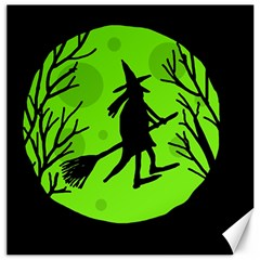 Halloween Witch   Green Moon Canvas 20  X 20   by Valentinaart