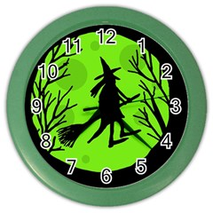Halloween Witch   Green Moon Color Wall Clocks by Valentinaart