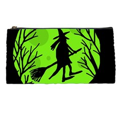 Halloween Witch   Green Moon Pencil Cases by Valentinaart