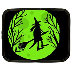 Halloween Witch   Green Moon Netbook Case (xl)  by Valentinaart