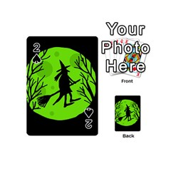 Halloween Witch   Green Moon Playing Cards 54 (mini)  by Valentinaart