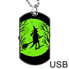 Halloween Witch   Green Moon Dog Tag Usb Flash (two Sides)  by Valentinaart