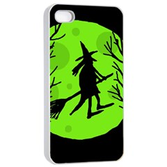 Halloween Witch   Green Moon Apple Iphone 4/4s Seamless Case (white) by Valentinaart