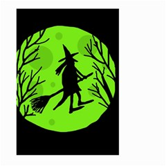 Halloween Witch   Green Moon Large Garden Flag (two Sides) by Valentinaart