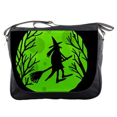 Halloween Witch   Green Moon Messenger Bags by Valentinaart