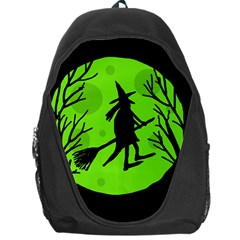 Halloween Witch   Green Moon Backpack Bag by Valentinaart