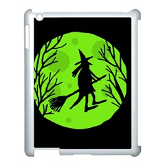 Halloween Witch   Green Moon Apple Ipad 3/4 Case (white) by Valentinaart