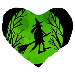 Halloween Witch   Green Moon Large 19  Premium Heart Shape Cushions by Valentinaart