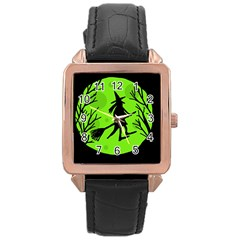 Halloween Witch   Green Moon Rose Gold Leather Watch  by Valentinaart