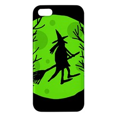 Halloween Witch   Green Moon Apple Iphone 5 Premium Hardshell Case by Valentinaart