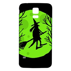 Halloween Witch   Green Moon Samsung Galaxy S5 Back Case (white) by Valentinaart