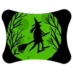 Halloween Witch   Green Moon Jigsaw Puzzle Photo Stand (bow) by Valentinaart
