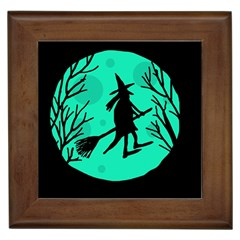 Halloween Witch   Cyan Moon Framed Tiles by Valentinaart