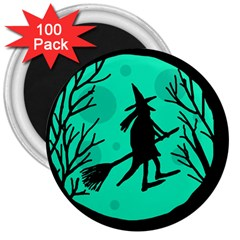 Halloween Witch   Cyan Moon 3  Magnets (100 Pack) by Valentinaart