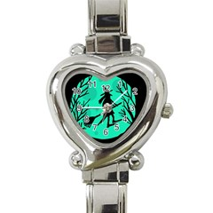 Halloween Witch   Cyan Moon Heart Italian Charm Watch by Valentinaart
