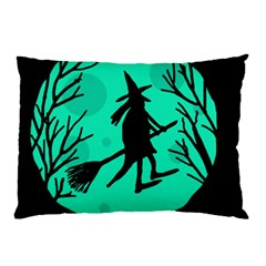 Halloween Witch   Cyan Moon Pillow Case by Valentinaart