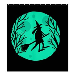 Halloween Witch   Cyan Moon Shower Curtain 66  X 72  (large)  by Valentinaart
