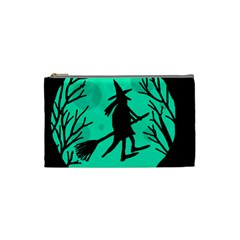 Halloween Witch   Cyan Moon Cosmetic Bag (small)  by Valentinaart