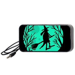 Halloween Witch   Cyan Moon Portable Speaker (black)  by Valentinaart