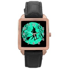 Halloween Witch   Cyan Moon Rose Gold Leather Watch  by Valentinaart