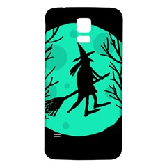 Halloween Witch   Cyan Moon Samsung Galaxy S5 Back Case (white) by Valentinaart