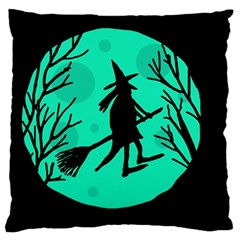 Halloween Witch   Cyan Moon Large Flano Cushion Case (one Side) by Valentinaart