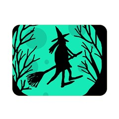 Halloween Witch   Cyan Moon Double Sided Flano Blanket (mini)  by Valentinaart
