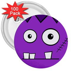 Halloween Frankenstein   Purple 3  Buttons (100 Pack)  by Valentinaart