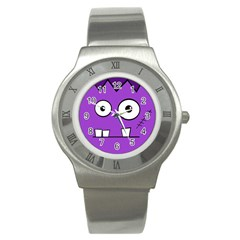 Halloween Frankenstein   Purple Stainless Steel Watch by Valentinaart