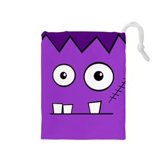 Halloween Frankenstein   Purple Drawstring Pouches (medium)  by Valentinaart