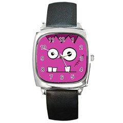Halloween Frankenstein   Pink Square Metal Watch by Valentinaart