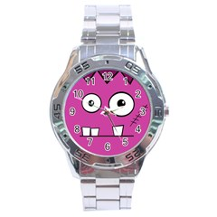 Halloween Frankenstein   Pink Stainless Steel Analogue Watch by Valentinaart