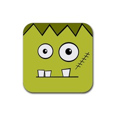 Halloween Frankenstein  Yellow Rubber Square Coaster (4 Pack)  by Valentinaart