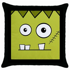 Halloween Frankenstein  Yellow Throw Pillow Case (black) by Valentinaart