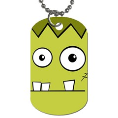 Halloween Frankenstein  Yellow Dog Tag (two Sides) by Valentinaart