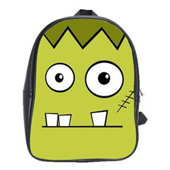 Halloween Frankenstein  Yellow School Bags(large)  by Valentinaart
