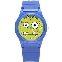 Halloween Frankenstein  Yellow Round Plastic Sport Watch (s) by Valentinaart