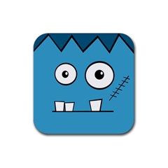 Halloween Frankenstein   Blue Rubber Square Coaster (4 Pack)