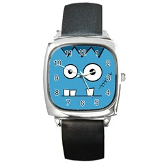 Halloween Frankenstein   Blue Square Metal Watch by Valentinaart