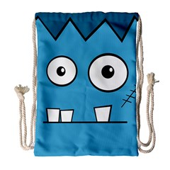 Halloween Frankenstein   Blue Drawstring Bag (large) by Valentinaart