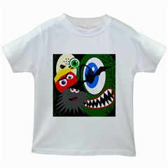 Halloween Monsters Kids White T Shirts by Valentinaart