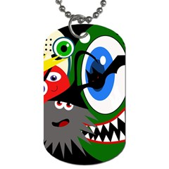 Halloween Monsters Dog Tag (two Sides) by Valentinaart