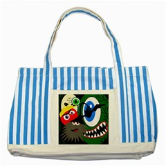 Halloween Monsters Striped Blue Tote Bag by Valentinaart