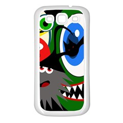Halloween Monsters Samsung Galaxy S3 Back Case (white) by Valentinaart
