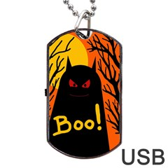 Halloween Monster Dog Tag Usb Flash (two Sides)  by Valentinaart